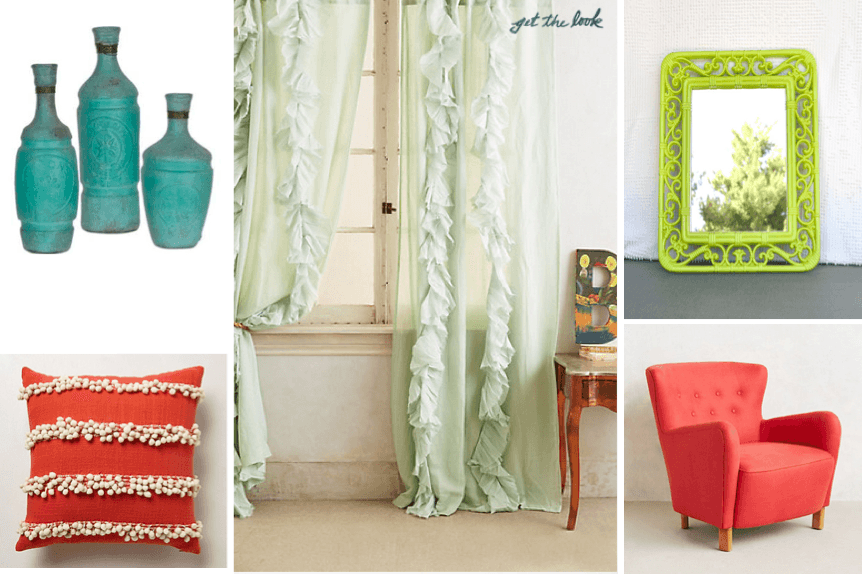 Mint and coral spring decor