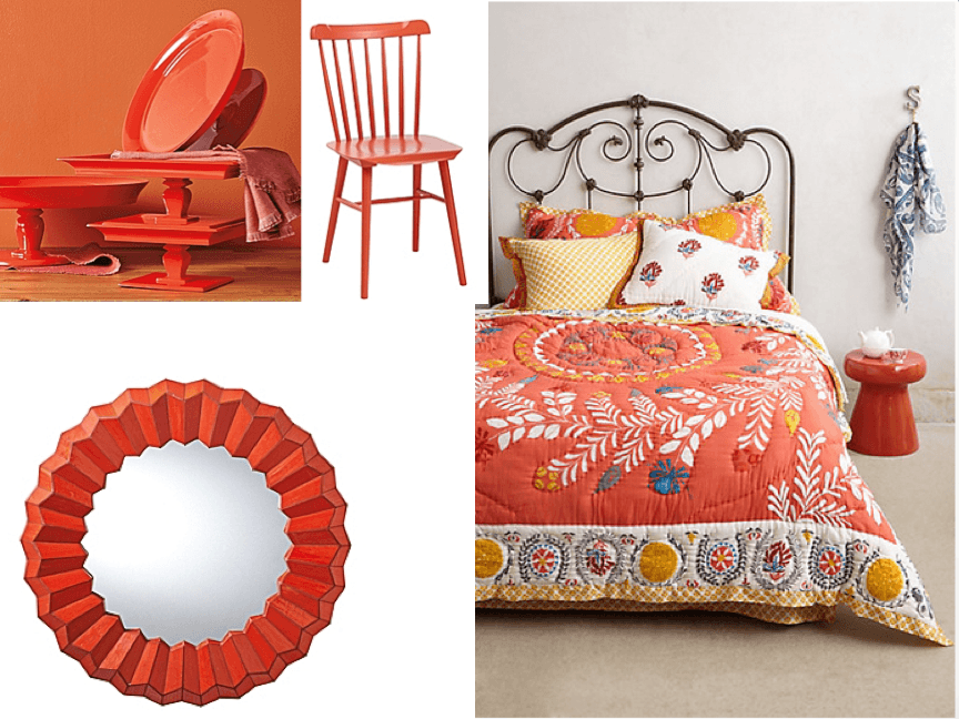 Orange and red home decor for spring